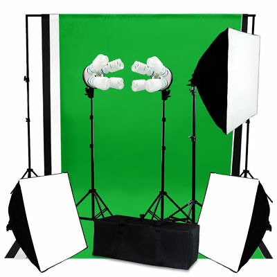 Photo Video Studio Continuous 3Softbox Lighting W/ Backdrop Photography Bulb Kit