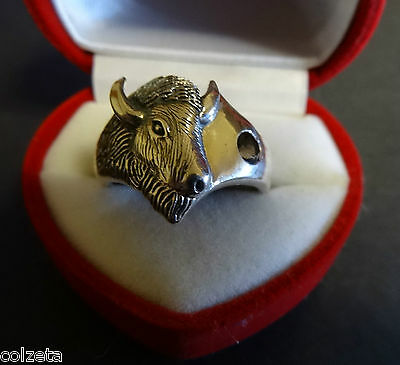 BUFFALO RING sterling silver *RARE* by Ted Andrews created by Peter Stone. Bison