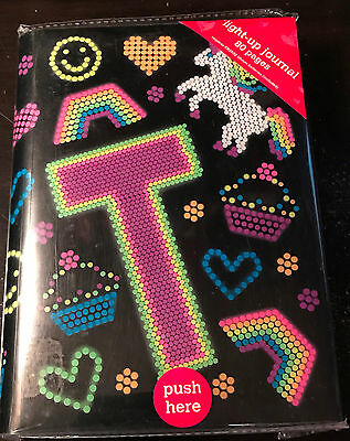"""Justice Girl's Initital """"T"""" Emoji Print Light-Up Journal New 80 Pages"""