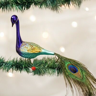 Old World Christmas Magnificent Peacock Clip-On Glass Ornament 18002