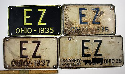 Vintage Lot of 28 Vanity Original OHIO License Plate Initial Reserve EZ