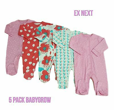 Babygrows Sleepsuits Baby Girls ex Ne/xt 5 Pack 100% Cotton Playsuit BNWT