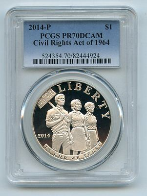 2014 P $1 Civil Rights Silver Commemorative Dollar PCGS PR70DCAM