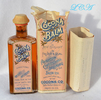 COLORFUL 1880s COCONA BALM bottle SAN FRANCISCO all original LABEL CONTENTS et