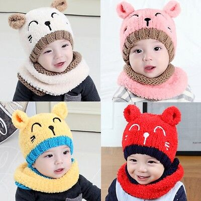 Boys Girls Winter Beanie Warm Hat Hooded Scarf Earflap Knitted Baby Toddler Cap