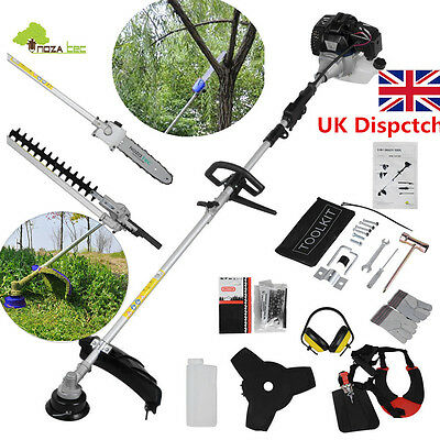 52cc 5 in 1 Petrol Tool Hedge Trimmer Chainsaw Strimmer Brushcutter Garden Black