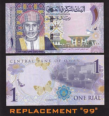 """Oman 1 Rials (2015) 2016 REPLACEMENT """" 99 """" banknotes P-New  UNC"""