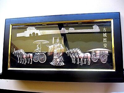 CHINESE PICTURE DIORAMA signed  BRASS  FRAMED  large  MIB