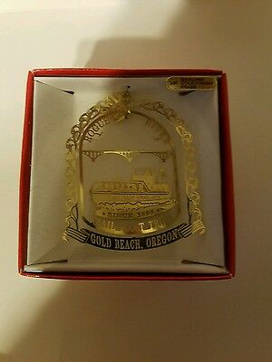 Rouge River Mail Boat Trips Gold Beach Oregon Brass Christmas Ornament