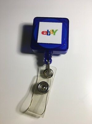 eBay Translucent Clear Blue Square Badge ID Belt Pull Never Used