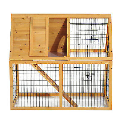 Deluxe 2 Storey Wood Rabbit Bunny Hutch House Coop Pet Cage w/ Mesh Cover Ladder