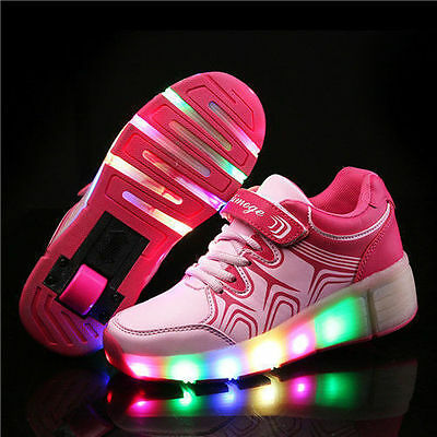 Kids Child Retractable Wheel Roller Skate Shoes Boys Girls LED Light Up Sneaker