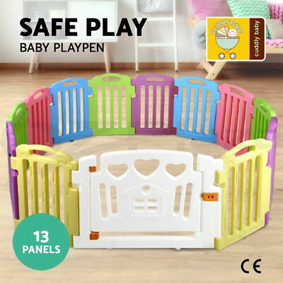 Baby Kids Toddler Deluxe Natural Wooden Playpen Divider Safety Gate 8 Panel
