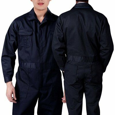 Black BOILER SUIT OVERALL COVERALL Mechanic college work MEN 100% New UK STock