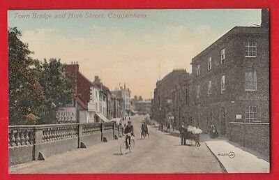 Wiltshire, Chippenham, Town bridge and high street. Postcard.