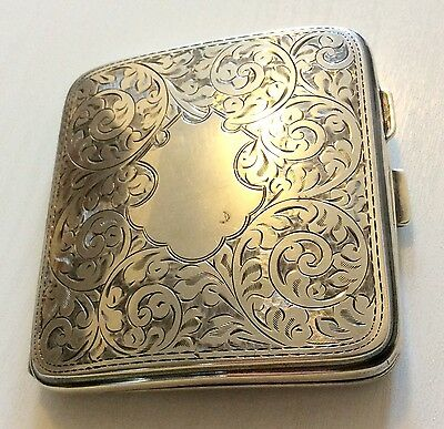 Beautiful Antique 1924 Solid Silver Card Case - Money Case Must See  fully markd