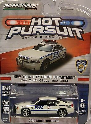 Greenlight 1:64 Scale Diecast Metal Nypd White 2010 Dodge Charger Police Car