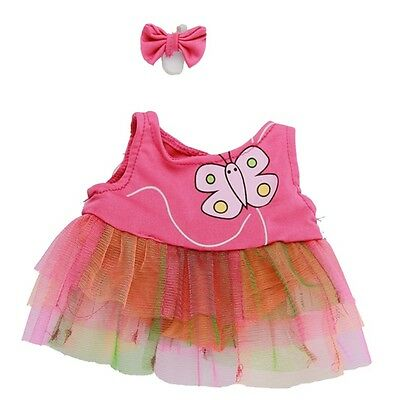 """Butterfly Dress & Earbow Teddy Bear Clothes to fit 15"""" build a bear"""