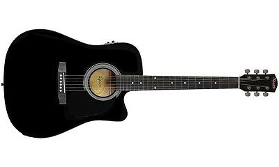 Fender Squier Dreadnought Cutaway, SA-105CE, Black Electro Acoustic Guitar