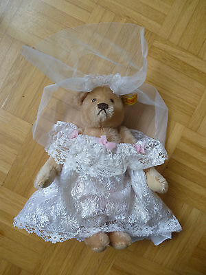 original STEIFF Vintage  BEAR BRIDE puppet ID# 0270/28 button tag germany nos