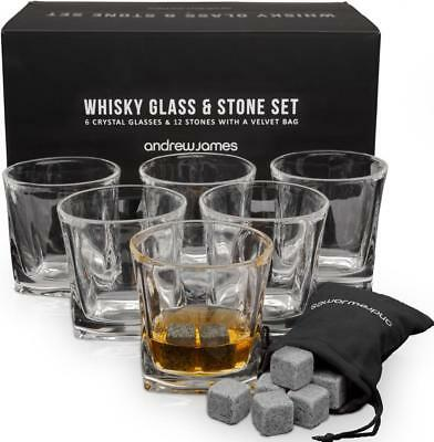 Andrew James Whiskey Stone Gift Set Includes 6 Glasses and 12 Whiskey Stones
