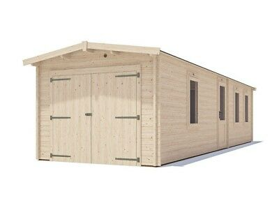 "Wooden Log Garage Trent Tandem Lo-Roof W10' 0"" x D31' 0"" - Dunster House"