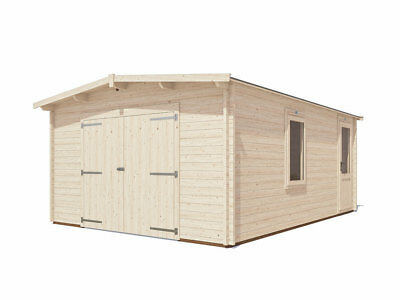 "Wooden Log Garage Trent  Lo-Roof W13' 0"" x D18' 0"" - Dunster House"