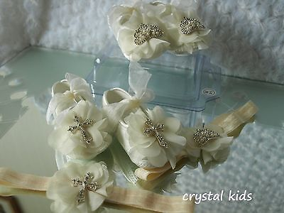 Baby Girls Reborn Ivory Satin Chiffon Christening Wedding Pram Shoes & Headband