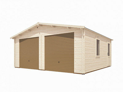 "Wooden Double Garage Storage W19' 4"" x D18' 0"" Inc Metal Door - Dunster House"