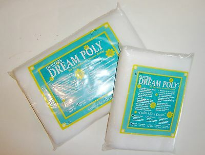 "Quilters Polyester Batting 'Dream Poly' Sizes 46"" x 36"" and 60"" sq. Easy to use"
