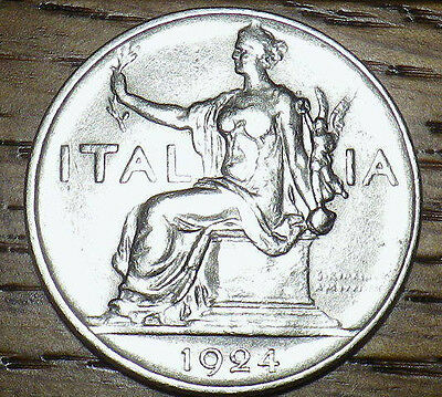 1924 Italy 1 Lira - AWESOME COIN - Very Nice LOOK