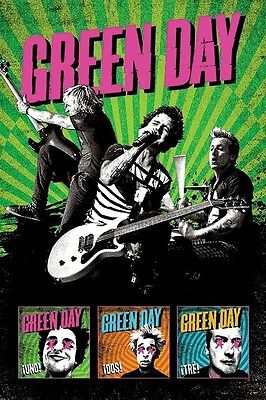 GREEN DAY ~ LIVE UNO DOS TRE 24x36 MUSIC POSTER Billie Joe Armstrong Dirnt Cool