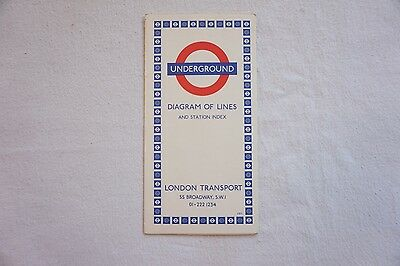 1971 London Transport Underground Map Diagram of Lines & Station Index  Ref 1270