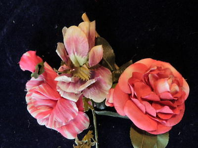 "Vintage Millinery Flower Collection 4"" Pink Ivory German Shabby H1176"