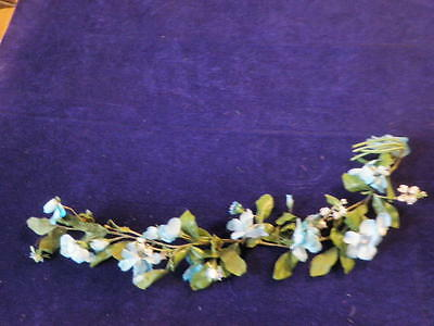 "Vintage Millinery Flower Collection 26"" Garland Blue White German Crown  H1193"