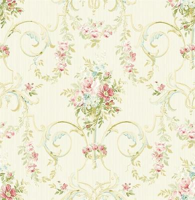 Wallpaper Designer Traditional French Style Pink & Reddish Floral Lattice Scroll