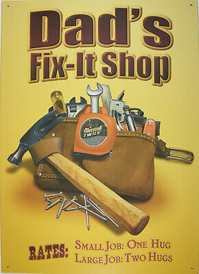 Dads Fix-it Shop Blechschild Flach Neu aus USA 30x43cm S1747