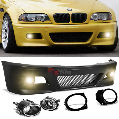 For 99-06 Bmw E46 3-Series M3 M-Sport Style Front Bumper Grille Cover+Fog Light
