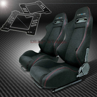 For 92-99 Bmw E36 2-Dr Mount/bracket+Nrg Type-R Style Black Cloth Racing Seat X2
