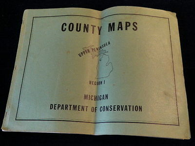 Vintage 1961 Michigan Department of Conservation Upper Peninsula County Maps A24