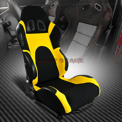 1X Black/yellow Reclinable Sports Style Racing Seats+Mounting Sliders Right Side