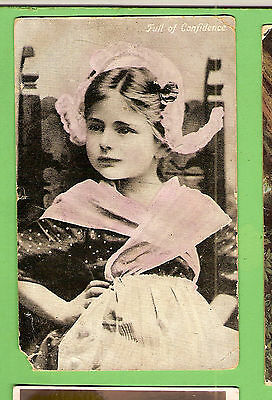 #a.   1908  Girl  Postcard -  Full Of Confidence