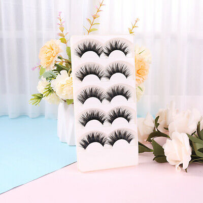 5 Pairs Soft Handmade Black Long Makeup Natural Thick False Eyelashes Eye Lashes