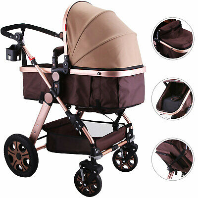 Foldable Pram Baby Stroller Carriage Infant Five-Point Harness Lockable Wheels