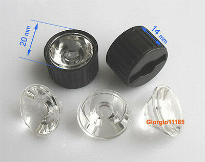 US Stock 10pcs 25 Degree LED Lens For 1W 3W 5W Hight Power LED With Holder Black