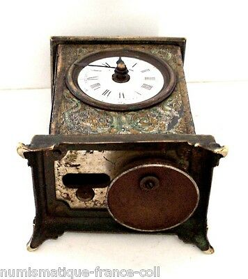 half skeleton, works well, Antique French enamel Carriage alarm Clock bell 1880