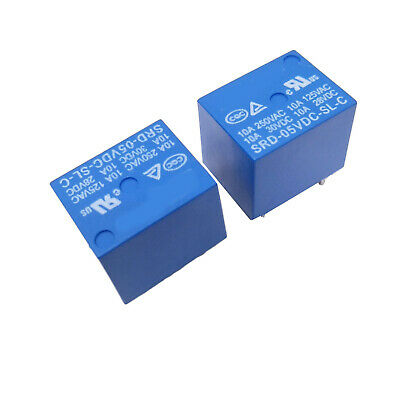 10 pcs Mini 5V DC SONGLE Power Relay SRD-5VDC-SL-C PCB Type