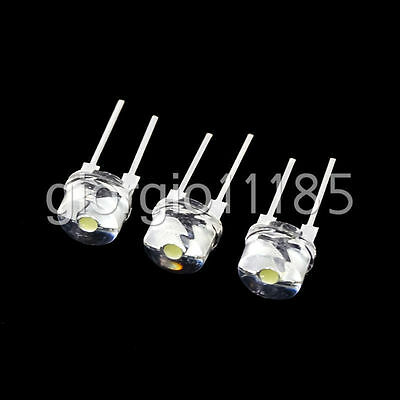 50 pcs New Straw Hat 8mm 0.5W White LED Light Emitting Diode