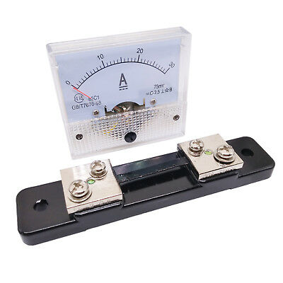 US Stock Analog Panel AMP Current Ammeter Meter Gauge 85C1 0-30A DC & Shunt