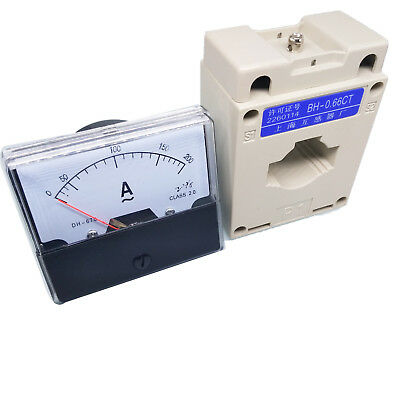 New Analog Panel AMP Current Meter Gauge DH-670 0-200A AC & Current Transformer